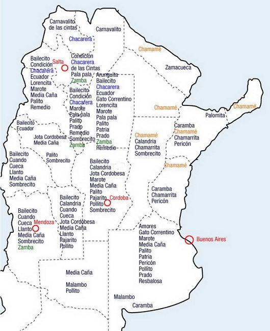 carte du folklore argentin