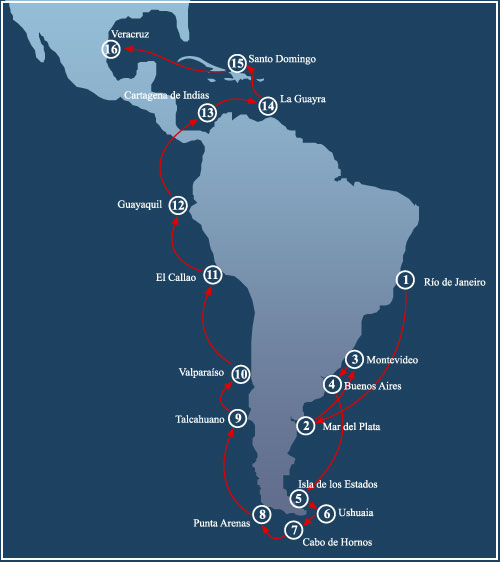 Itinéraire de VELAS SUDAMERICA 2010