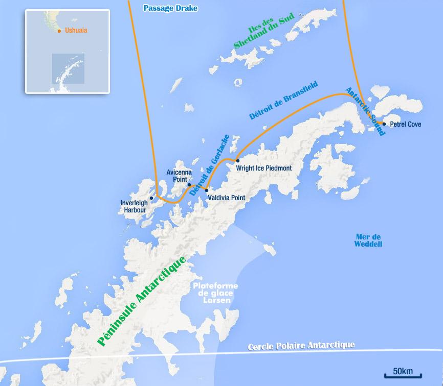 Carte antarctique route des explorateurs